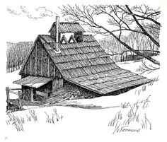 Barn Sketches - Black and White Print - Tobacco Barns - Vermont Barn in the Winter  1967 Vintage Book Plate Approximately 9 x 11 (22.86 cm x 27.94), the image occupies the whole page  Printed in ivory colored paper, in very good vintage condition!  Back of page has text and or pictures.    You will receive the original book plate, not a copy or scan.  Perfect for framing in a rustic retreat or in a peaceful corner!    Matting and frame for example purposes - see how great your print will…
