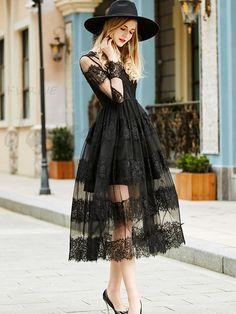 レースレース切り替え黒Aラインワンピースdoresuweデザイン 12751800 - Doresuweデザイン - Doresuwe.Com Goth Dress, I Dress, Dress Outfits, Fashion Dresses, Prom Dresses, Sleeveless Dresses, Quinceanera Dresses, Lace Dress, Pretty Dresses