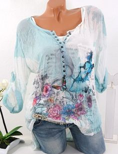 Offer Description of Blouses Women 2019 Summer Floral Print Casual Long Sleeve Chiffon Blouse Shirt Sexy Female Plus Size Blusas Mujer De Moda If You search information for Blouses+&+Shirts… Plus Size Shirts, Chemises Sexy, Cheap Womens Tops, Mode Boho, Sexy Shirts, Estilo Boho, Blouses For Women, Ladies Blouses, Women's Blouses