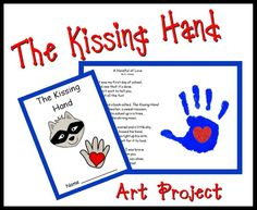 Kissing Hand art project..I received several notes from parents telling me how much they loved the finished product. We didn't use paint(it's waaaay too early for that haha) so we helped them trace their hand and let them color it and they put the heart sticker inside.