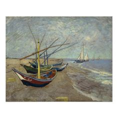 Fishing Boats on the Beach by Vincent Van Gogh Perfect Poster