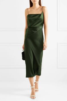 Topshop Unique | Silk-satin midi dress | NET-A-PORTER.COM