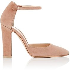 "Gianvito Rossi Women's ""54\"" Suede Mary Jane Pumps ($775) ❤ liked on Polyvore featuring shoes, pumps, heels, nude, pink, mary-jane shoes, ankle strap pumps, nude high heel pumps, suede pumps and nude high heel shoes"