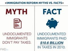 Immigration Reform Myths Vs. Facts | Myth: Undocumented immigrants don't pay taxes | Fact: Undocumented immigrants paid $10.6 billion in taxes in 2010 | [click this image to find a brief video and analysis of racialized discourse of immigration in the United States] Source: Institute on Taxation and Economic Policy (http://www.itep.org/pdf/undocumentedtaxes.pdf); Reported by www.fwd.us