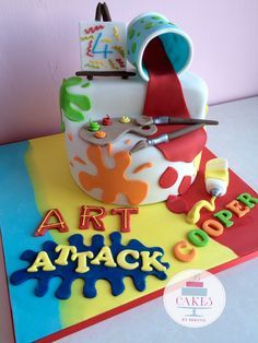 Splat bright and beautiful art attack cake!
