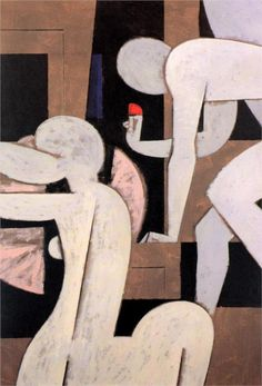 Yannis Moralis / Γιάννης Μόραλης is an outstanding figure in Modern Greek painting. He became a professor at the School of Fine Arts at a very early age and for years taught the younger generations of Greek painters. Greek Paintings, Art Et Illustration, Greek Art, Art Moderne, Artist Art, Figurative Art, Oeuvre D'art, Les Oeuvres, Modern Art