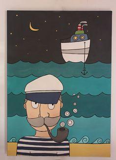Námořník, akryl na plátně, 50x70 cm Akryl na plátně, 50x70 cm Smell Good, Vivid Colors, Author, Drawings, Movie Posters, Handmade, Painting, Hand Made, Film Poster