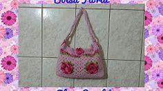 bolsa com flores em croche - YouTube