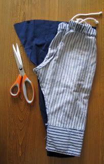 indietutes: SI know there are a few tutorials floating out there on how to turn sleeves into pants for children. There are so many because it's such a simple and convenient thing to do, not to mention cute. They make great pajamas from a knit material, winter coverings from a felted sweater, regular pants from almost any shirt, and are perfect using up the extra sleeves from a men's dress shirt leevy pants...