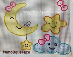 This Pin was discovered by Môn Cross Stitching, Cross Stitch Embroidery, Cross Stitch Patterns, Baby Motiv, Broderie Simple, Baby Girl Hair Accessories, Stitch Cartoon, Donia, Needlepoint Designs