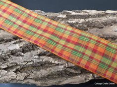 """Fall Plaid Wired Ribbon, Pumpkin Orange, Leaf  Green and Cranberry Red  2 1/2"""" wide from Cottage Crafts Online"""