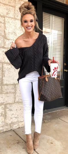 dark grey off shoulder sweater #wedgesoutfit