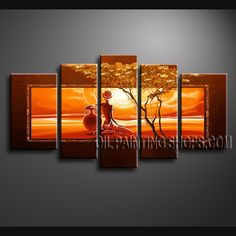 Large Contemporary Wall Art High Quality Oil Painting For Living Room Africa Landscape. This 5 panels canvas wall art is hand painted by Bo Yi Art Studio, instock - $172. To see more, visit http://OilPaintingShops.com