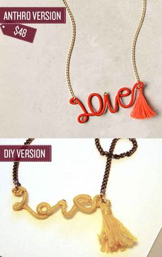 Craft a thread-wrapped word necklace. | 38 Anthropologie Hacks