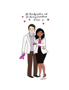 Mindy and Danny Print  8.5x11  Hand-Illustrated by roaringsoftly
