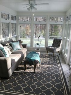 Converted A Brown Screened In Porch To This 3 Season Sanctuary throughout Three Season Porch Decorating Ideas Porch To Sunroom, Screened In Porch, Small Sunroom, Sunroom Windows, Front Porch, Four Seasons Room, Three Season Porch, Three Season Room, Sunroom Decorating