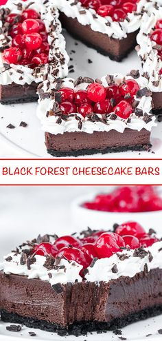 These Black Forest Cheesecake Bars are unbelievably yummy! With an oreo cookie crust, rich chocolate cheesecake filling, topped with sweetened whipped cream, cherries and chocolate shavings, this is one decadent dessert you won't be able to resist sinking your teeth into! #blackforest #cheesecake #cheesecakebars #chocolatecheesecake #cheesecakes #dessert #easy #sweet #chocolate