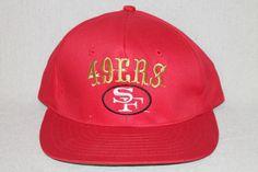 San Francisco 49ers NFL Snapback Cap Hat Red Gold 1990's AJD