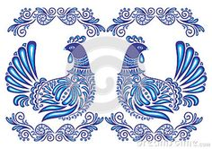 Gzhel Pattern | Abstract Gzhel Birds And Ornament Stock Photography - Image: 28759212