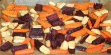 Rodfrugter tilberedt i ovnen.