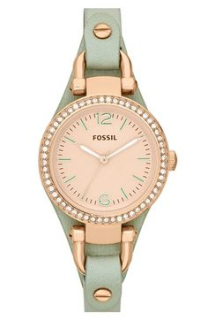 Fossil 'Small Georgia' Crystal Bezel Leather Strap Watch