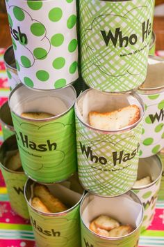 Who Hash : How the Grinch Stole Christmas / Cindy Lou-Who inspired Birthday Party or Christmas party. Perfect for a whobilation. Who hash potato can idea.