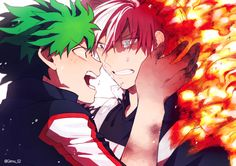 """Izuku lifted his damaged hand to Shouto's cheek. It burned like hell but Izuku forced himself to look into  His boyfriends different colored eyes.  """"S-Shouto!!!"""" Izuku screamed """"It's ok!! I'm alive!!!"""" The fight raged around them, the shouts of villians fighting students the only thing the two could stand to hear.  Tears raced down Shouto's cheeks, his eyes wild, he whispered  """"...M-midoriya?"""""""