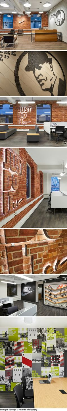 Nike downtown office designed by Pulsinelli Design. Creative details arein the space,includingsoccer shoe spikes used aswall artthatmake up the portrait and quotation of the Nike Co-Founder B…