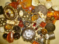Assorted Beads, Gemstones & Steampunk Charms, Autumn Collection, for Arts and Crafts etc.. £16.00, via Etsy.