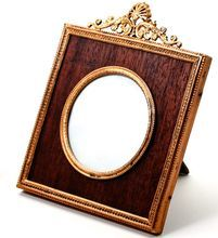 Antique French Dore Bronze Photo Frame with Wood Mat, Easel Stand Back - Ormolu Antique Picture Frames, Antique Frames, Table Frame, Small Tables, Easel, French Antiques, Bronze, Mirror, Wood