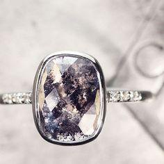 1.94 carat salt & pepper diamond ring in white gold. chincharmaloney.com