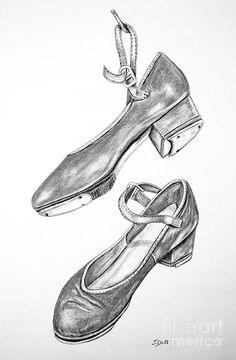 Tap Shoes Drawing - Tap Shoes by Josie Duff
