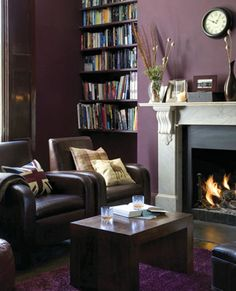 Living Room With Dark Purple Wall Roaring Fire And Tartan Acessories Rooms