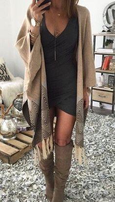 summer outfits Camel Fringe Poncho + Black Dress