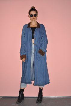 Vintage 80s Denim Trench Duster Jacket Coat XL by WhiteCityVintage