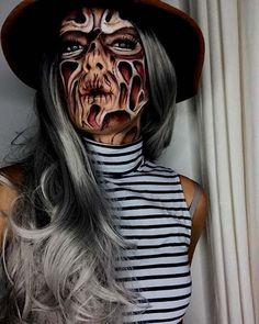 Scary Freddy Krueger Halloween Makeup Idea for Women