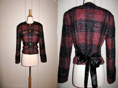 Vintage 1980s Patrick Kelly Designer Jacket Blazer with Black Velvet Ribbon Ties Plaid Wool Stylish and Colorful  https://www.etsy.com/listing/94282828/vintage-1980s-patrick-kelly-designer