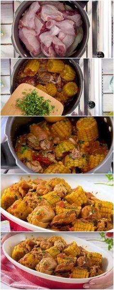 Frango de Panela de Pressão com Milho-verde, meu prato favorito de frango!!! (veja a receita passo a passo) #frango #frangodepanela#comida #culinaria #gastromina #receita #receitas #receitafacil #chef #receitasfaceis #receitasrapidas