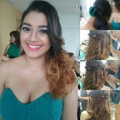 Half up do with lower curl