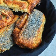 "Nordic Cuisine for the Home Cook - ""Tebirkes"" Danish Poppy Seed Rolls - with a filling of butter/marzipan-remonce"