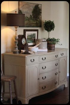 Vintage French Soul ~ I have a white buffet in my Family Room--even have similar artwork hanging above. Needed ideas for what to put on buffet itself. Repurposed Furniture, Painted Furniture, Furniture Makeover, Home Furniture, Deco Buffet, White Buffet, Boho Home, Shabby, Furniture Inspiration