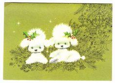 Vintage Poodle Christmas Card