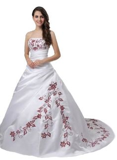 Faironly M56 Red Embroidery White Wedding Dress Click The Picture To Learn More
