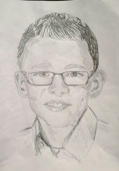Tekening: Mijn neefje P, 12 jaar. Juni 2014, grijs potlood op papier.