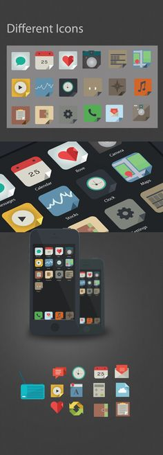 Flat icons UI by marco lopes, via Behance