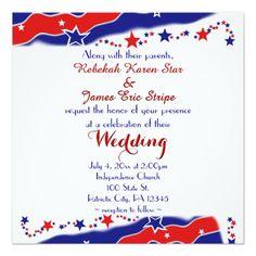 "Stars and Stripes Wedding 5.25"" Square Invitation Card @artbyapril1"