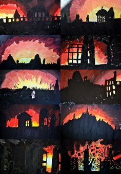 Bush fire / fire Art - use a range of media, like paint, charcoal, paper, etc. School Displays, Classroom Displays, Art Classroom, Classroom Ideas, Great Fire Of London, The Great Fire, World War 2 Display, Ww1 Art, Primary School Art