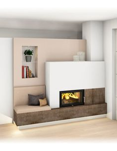 Home Fireplace, Living Room With Fireplace, Best Murphy Bed, Small Places, Home Interior Design, Living Room Designs, Bungalow, Sweet Home, Lounge