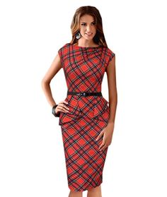 Buy-Box Women Elegant Sleeveless Boat Neck Tartan Bodycon Midi Pencil Dress *** Review more details here : cocktail dresses