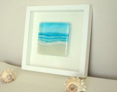 Blue Beach in a Box - Seaside Glass Framed Picture Black or White - fused glass wall art